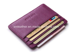 Logo Embossed Top Grain Leather Wallet for Cards pictures & photos