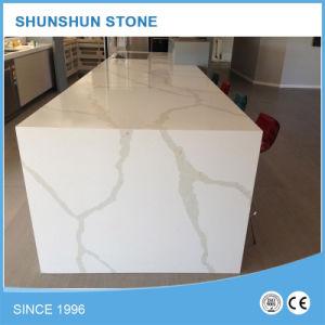 Popular Artificial Calacatta White Quartz Countertops for Hall pictures & photos