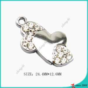Zinc Alloy Bent Heart Charm Jewelry Making