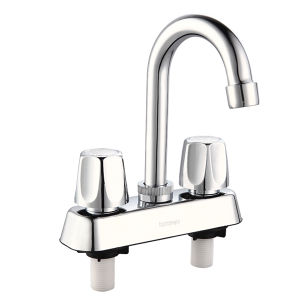 "4"" Chrome Plated Double Handle Bathroom Mixer pictures & photos"