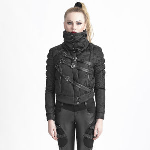 Y-619 Punk Black Winter Belts Short Down Jacket with High Collar pictures & photos
