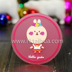 Cute Animal Designsoft PVC 2D Cup Coaster Mat with Thc-008 pictures & photos
