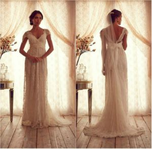 Lace Wedding Dress Anna Cap Sleeves Beach Bridal Gown M154 pictures & photos