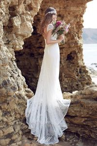 Lace Beach Wedding Dresses Anna Bohemian Empire Bridal Gowns Ld1515 pictures & photos
