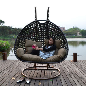 High Quality Power Coating Iron Frame Rattan Wicker Swing Chair pictures & photos