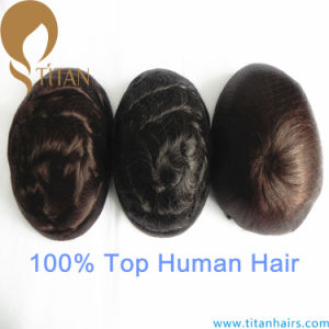 Virgin Human Hair Full Thin Skin Base Toupee for Men pictures & photos