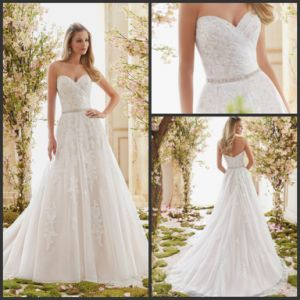 Overlayer Bridal Gown Lace Tulle Sweetheart Wedding Dress W201331 pictures & photos