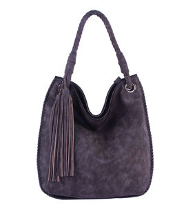 China Factory Trend Women Two-Tone PU Leather Handbag with Tassels pictures & photos