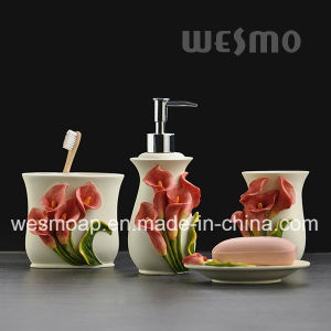Flowery Polyresin Bathroom Set (WBP0965A) pictures & photos