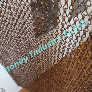 Honby Brown Color Aluminum Chain Link Door Screen Curtain