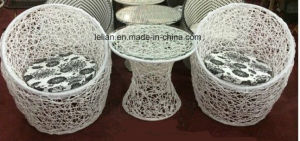 White Bird Nest Rattan Table and Chair Set for Sale pictures & photos