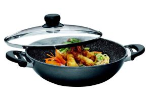 "Marble Nonstick Stone Cookware 12.6"" Diameter Wok with Lid pictures & photos"