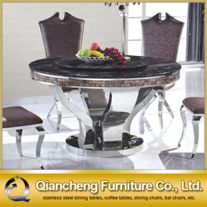 Modern Stainless Steel Marble Top Round Rotating Table pictures & photos