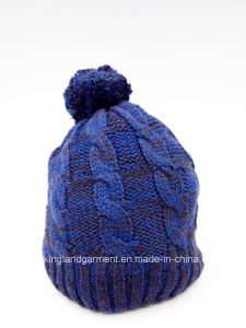 100% Winter Warm Acrylic Knitted Blue Hat with Pompom pictures & photos