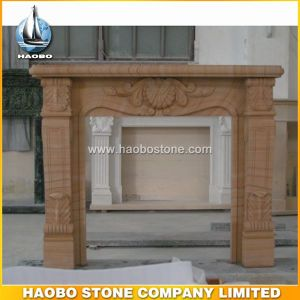 Natural Stone Wooden Sandstone Fireplaces pictures & photos