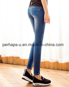 Custom Women Skinny Scratch Jeans Long Pants pictures & photos
