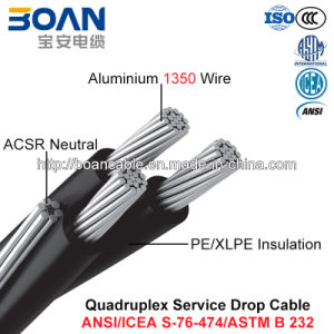 Quadruplex Service Drop Cable, ACSR Neutral, Twisted 600 V Quadruplex (ANSI/ICEA S-76-474) pictures & photos