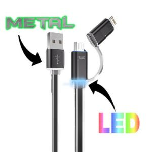 LED Light up Metal Universal 2-in-1 Sync and Charge Cable pictures & photos