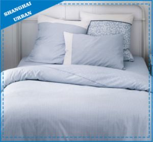 Light Blue Stripe Printed Cotton Bedsheet pictures & photos