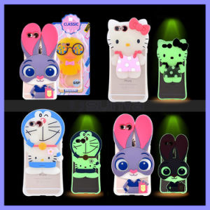 Silicone Luminous Calls Flashing Light Cute Animal Cases Cover Bear Rabbit Cat 3D Mobile Phone Case for iPhone 6s Plus pictures & photos