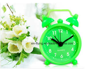 Multi-Color Home Decoration Twin Bell Snooze Mute Silicone Table Mini Alarm Clock pictures & photos