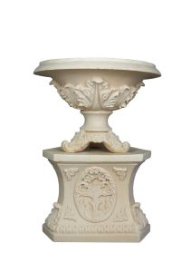 Sandstone Cylindricity Style Carved Statue Flowerpot Pedestal pictures & photos