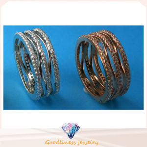China Whole Sale Fashion Jewelry Three Row Stone Ring 925 Sterling Silver Jewelry Ring R10498 pictures & photos