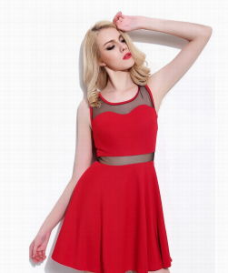 Ladies Sexy Midriff Strapless Backness Evening Dress pictures & photos