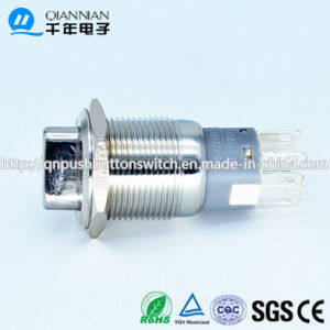 16mm 1no 1nc Resetable Self-Locking Flat Ring Illuminated Nickel Plated Brass Stainless steel Push Button Switch pictures & photos