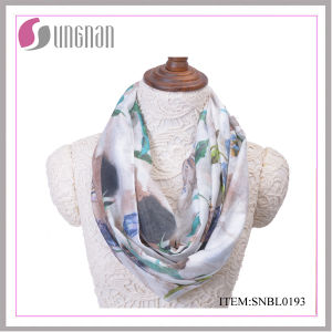2016 Ink and Wash Painting Vintage Cotton Infinity Scarf (SNBL0191) pictures & photos