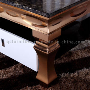 China Luxury Gold Color Coffee Table Modern with Marble Top