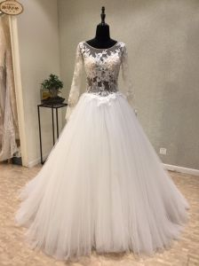 Long Sleeve Backless Lace Ball Wedding Evening Dress Factory pictures & photos
