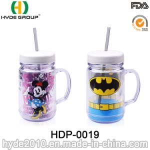 Customized 20oz BPA Free Plastic Mason Jar with Handle (HDP-0019) pictures & photos