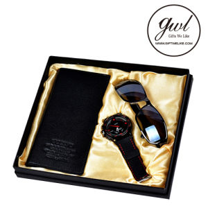 1. Best Sale Genuine Leather Mens Wallet with Watch Metal Fountain Pen for Gift Set pictures & photos