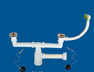 Dual Basin Drainer, Plastic Dual Wash Basin Waste Valve pictures & photos