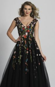 Sleeveless Black Floral Ball Gowns Colorful Long Prom Evening Dresses Z7007 pictures & photos