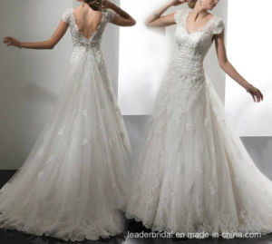 Cap Sleeves Bridal Gown Lace Tulle Beaded Wedding Dress A17948 pictures & photos