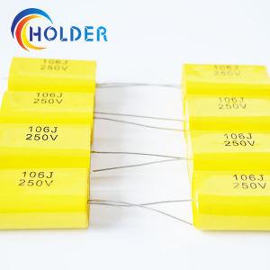 Flat Type Axial Cbb20 106j/250V Metallized Polypropylene Film Capacitor pictures & photos
