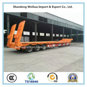 60 Ton Tri-Axle Flatbed Semi Trailer with Hydraulic Ladder pictures & photos