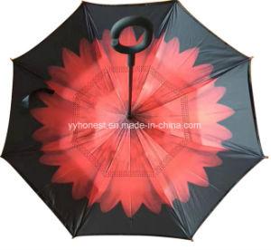23 Inch Double Layer C Handle Inverted Car Rain Umbrella pictures & photos