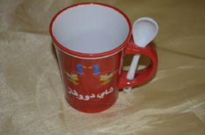 Custom Printing Porcelain Coffee Mug with Spoon pictures & photos