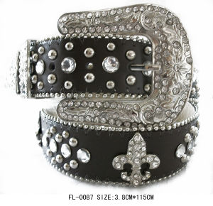 Studded Belt with Wasp and Rhinestone Fl-0087