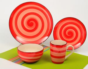16pcs Ceramic Orange Circle Handpainted Dinner Set (TM01063) pictures & photos