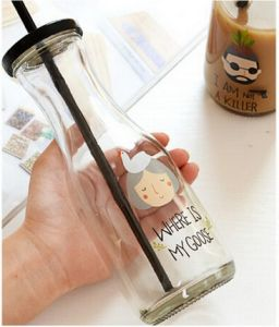 300ml Empty Glass Milk Bottle, Mason Jar, Glass Container with Straw pictures & photos