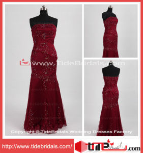 Elegant Wine Evening Gown Strapless Square Party Dress Mermaid Beading Lace Mother of The Bride Dress (TC08106)
