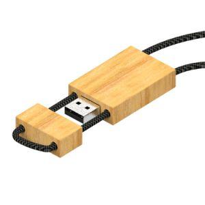 Pendant Wood USB Flash Drive with Lanyard (UF132)