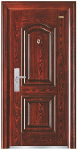 Red Walnut Colour Simple Design Steel Security Door pictures & photos