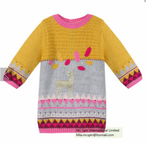 Kids Sweater Texture Knitted Dress for Girls pictures & photos