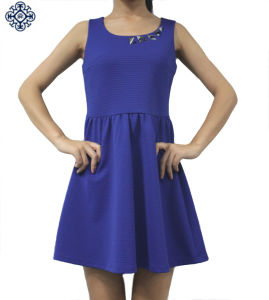 Ladies Pleated 100% Polyester Dress (LDS-27)
