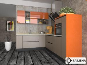 Orange Grey Modern Home Hotel Furniture Island Wood Kitchen Cabinet pictures & photos